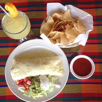 Mexican Food Lunch with Chips and Salsa and Margarita on Ice
